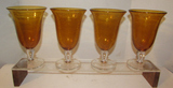 (4) Amber Colored Water Goblets