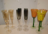 Assorted Stemware:  Set of (4) Grey, (3) Gold,