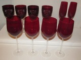 Assorted Red Crystal Stemware:  Set of (4), Set