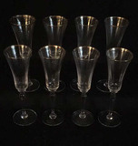 (8) Crystal Champagne Flutes with Gold Trim
