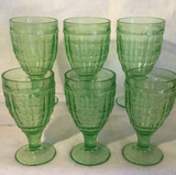 Set of (6) Vintage Green Footed Goblets