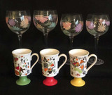 Retro Stemware & Mugs: (2) Sets of (2) Stemware