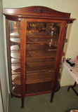 Antique Oak Curved Glass China Cabinet with