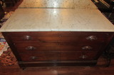 Victorian Marble-Top 3-Drawer Chest with Carved
