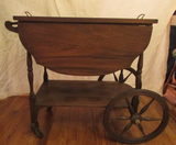 Vintage Drop-Leaf 1-Drawer Serving Cart