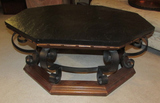 Vintage Heptagon Wood & Iron Coffee Table--40