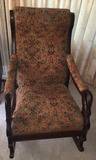Vintage Upholstered Rocking Chair with Goose Neck