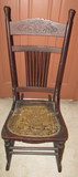 Antique Spindle Back Rocking Chair with Tooled