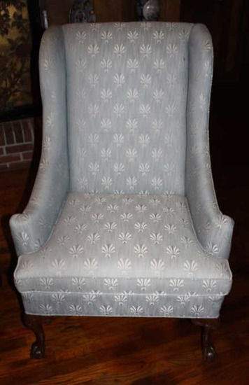 Upholstered Chair with Ball & Claw Feet--