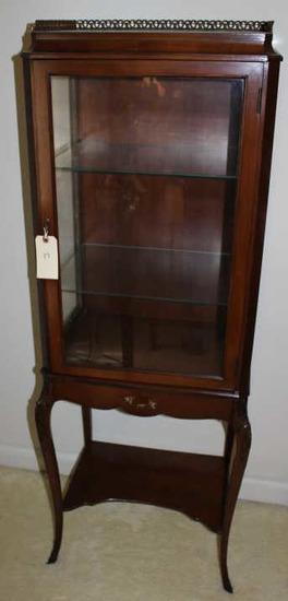 Curio Cabinet w/Adjustable Glass Shelves, Carved