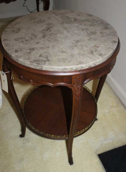 Round Marble Top Two-Tier End Table with Cabriole