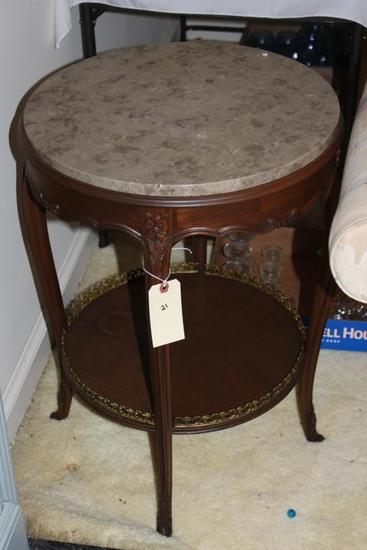 Round Marble Top Two Tier End Table with Cabriole