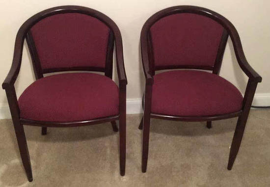 (2) Wood & Upholstered Arm Chairs