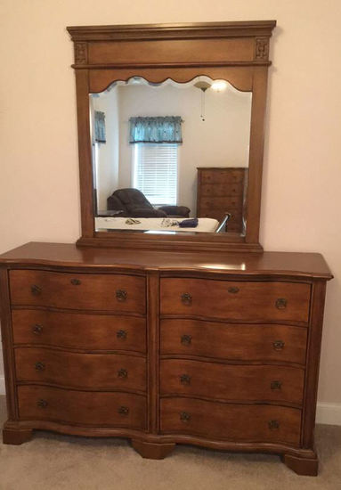 Triple Serpentine-Front Dresser with Mirror