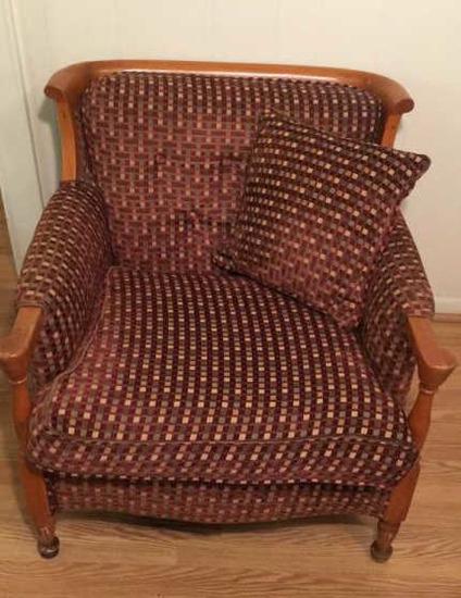 Vintage Wood & Upholstered Chair