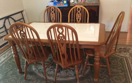 """Dining Table with Tiled Top, Turned Legs (38"""" x"""