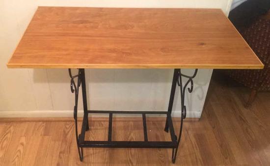 "Metal & Wood Table--36 1/2"" x 20 1/4"", 30 1/2""\"