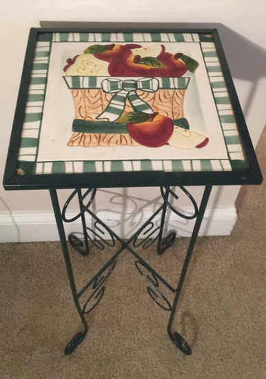 """Metal Plant Stand with Tile Top—10 1/2"""" Square,"""