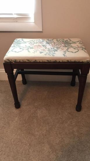 """Vintage Stool with Upholstered Seat—21"""" x 13"""""""