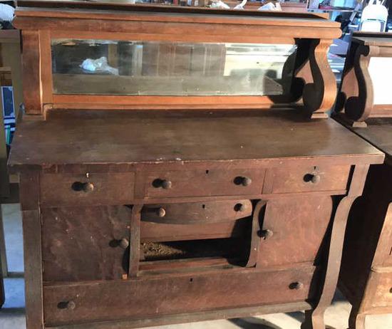 Antique Oak Empire-Style Buffet--