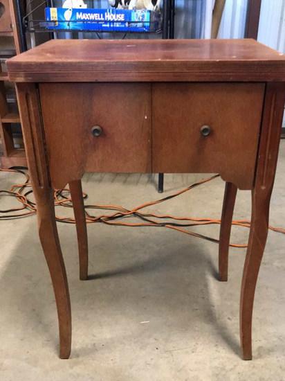 Wooden Sewing Machine Cabinet w/ Accessories--