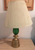 Vintage Green Glass Hobnail Table Lamp