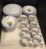 Set of Newcor Stoneware China:  (7) Dinner Plates,