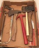 Assorted Tools: Hatchet, Hammers,