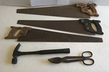 Assorted Hand Tools, Hand Saws, Hammer & Tin