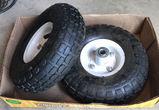 (2) Small Tube Type  4.1/3.5 Tires & Wheels