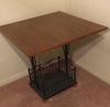 "Metal And Wooden Table—27"" x 28"", 26 3/4"" High"