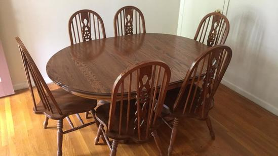 Oval Pedestal Dining Table and Six Matching