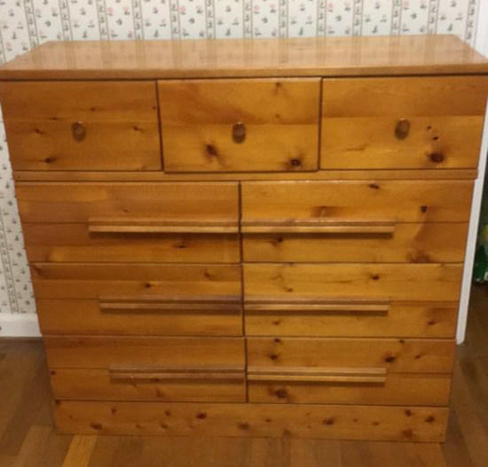 "Vintage Pine Chest of Drawers--36"" x 14"", 34"" High"
