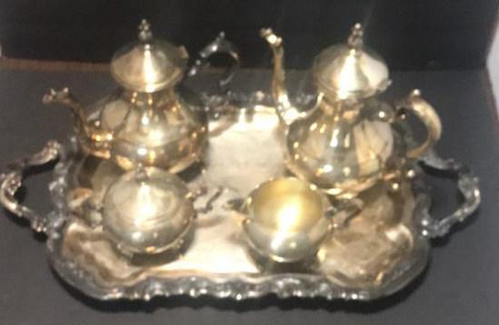 "(4) Piece ""F B Rogers"" Silverplate Tea Service &"
