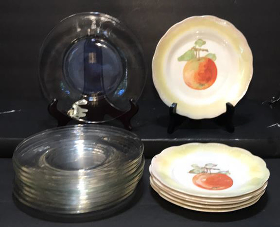 "(6) Limoges 7 1/4"" Plates and (9) 8"" Glass Plates"