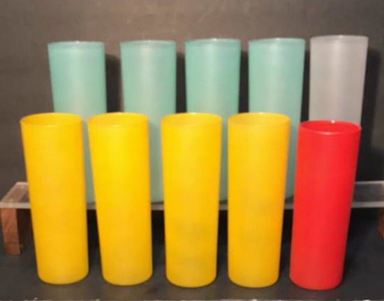 (9) Vintage Frosted Tumblers & (1) Odd Tumbler