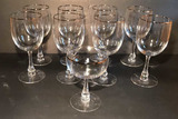 (9) Stems of Crystal with Silver Rim--(8) Water,