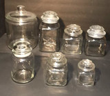 (7) Glass Cannisters with Lids