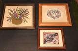 (2) Framed Needlework Pictures & (1) Framed Print: