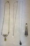 (3) Silver Necklaces & (1) Unmarked Silver Spoon