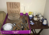 Assorted Kitchen Items Including Plastic Cake