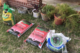 (5) Planters - (3) With Plants, (2) New Bags of