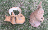 Animal Yard Ornaments: Cat Pot Holder, Rabbit