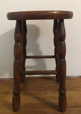 Wooden Stool with Turned Legs