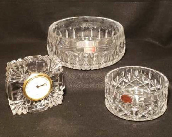 "(3) Gorham Crystal Items: 8"" Bowl, 5"" Bowl, 5"""