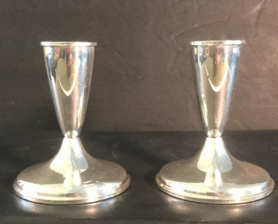 (2) Sterling Silver Candle Holders with Weighted