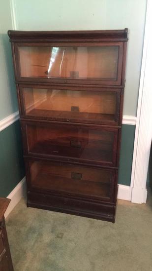 Antique Oak Barrister Bookcase - Globe- Werenicke