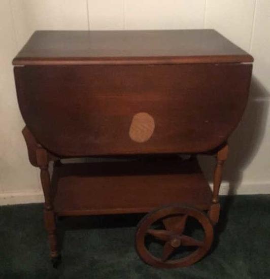 Vintage Drop-Leaf Serving Cart