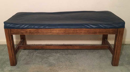 Wooden Bench with Vinyl Upholstered Seat--