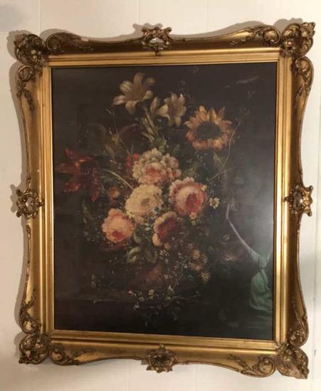 """Vintage Print in Gold Frame--25"""" x 29"""" Framed"""